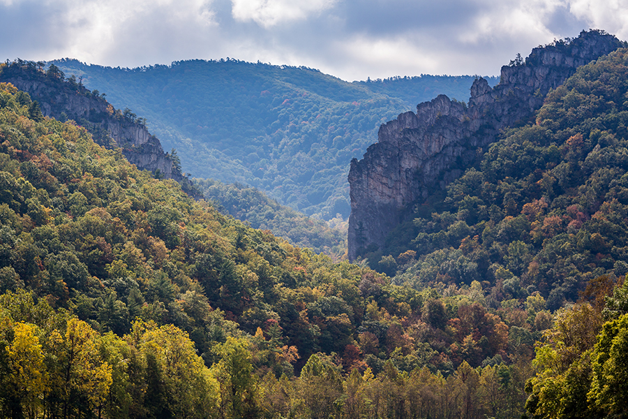 Contact - Aerial View of Trees and Mountains at Seneca Rocks in West Virginia on a Fall Morning